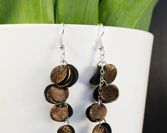 HILPU earrings - Bronze foil reindeer leather cluster earrings - Dangle earrings - Handmade earrings