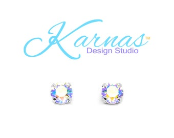 CRYSTAL GLACIER BLUE 8mm Earrings Made With Swarovski Crystal *Choose Finish & Style *Karnas Design Studio™ *Free Shipping