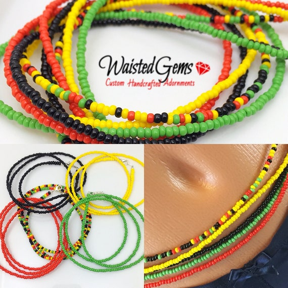 Rasta 5 Strand Waist Bead Set, Waistbeads, belly chains, Body Jewelry, Red Yellow and Green, belly beads, Gift for her zmw55642.0