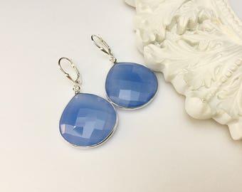 Sky Blue Chalcedony Earrings
