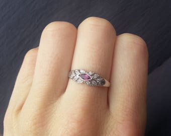 Vintage Edwardian Amethyst Engagement Ring, White Gold Diamond Amethyst Wedding Band, Art Deco Style Engagement