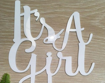It's A Girl White Gloss Wedding Baby Shower Cake Topper