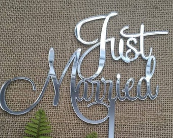Just Married Acrylic Silver Mirror Wedding Cake Topper