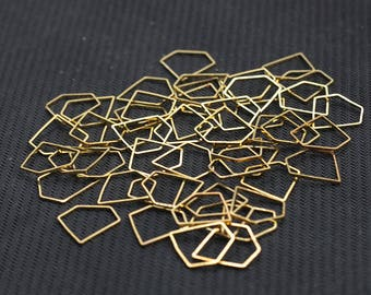 10 Pcs Gold Plated Diamond Shape Rings , 15x15x1mm , For Jewelry Making Craft Supplies Wholesale Charms YHA-293-7310