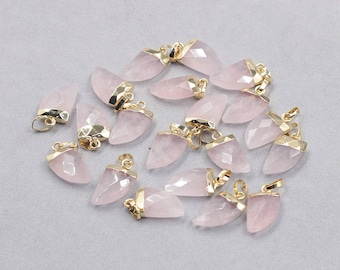 16mm Faceted Rose Quartz Small Horn Pendants -- With Electroplated Gold Edge Gemstone Charms Wholesale Supplies YHA-328
