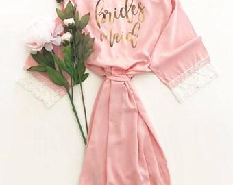 Pink Bridesmaid Robe | Pink Robes For Bridesmaids | Pink Lace Robe | Blush Pink Robe Bridesmaid Gift Ideas Lace Bridesmaid Robes (EB3184BPW)