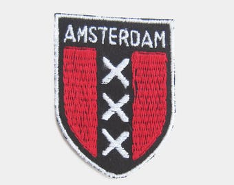 Vintage 1970s Amsterdam Fabric Patch - the netherlands dutch flag holland cloth tourist souvenir travel Ajax badge red white black 1980s