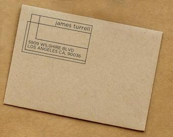 Custom Address Stamp • Rubber Stamp • Personalized Return Address • Wedding Gift • Housewarming Stamp • Modern Minimal Geometric