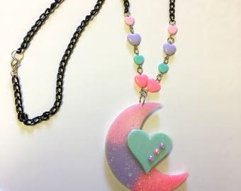 Fairy Kei Moon and Heart Necklace from KawaiiPowerUp (exclusive)(pink,teal,purple)