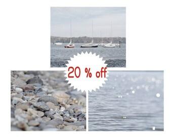 Lake house decor, grey lake house wall art, lake photographs, beach bathroom decor, lake artwork set of 3 photo prints 12x12, 11x14 pictures