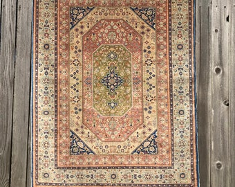 "Extremely fine Turkish Hereke rug %100 Silk & signed with Gold threads 3'5""x4'5'' ~ 676 KPSi"