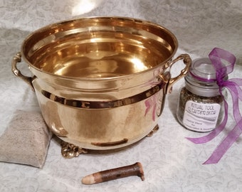Vintage Brass Cauldron Gift Set with Mini Ash Wand Fancy 3 Footed Pot for Wicca Witch Magick Incense Burner