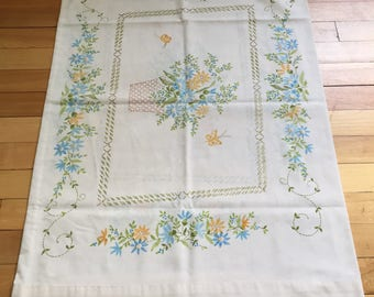 Vintage 1970s Floral Bouquet Basket Planter Pillowcase!