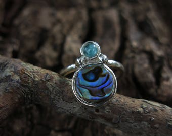 Size 6 Abalone & Blue Apatite Sterling Silver Ring