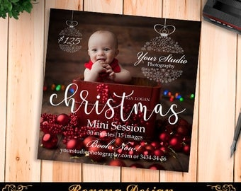 Christmas Mini Session Template - Photography Marketing Board - Christmas Minis - Photoshop Template