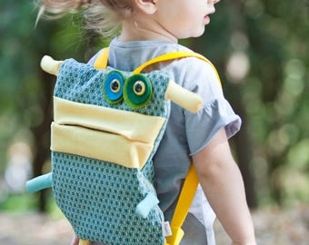Backpack for kids, Monster for school, handmade backpack