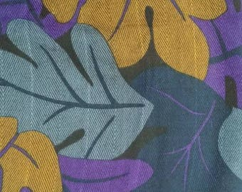 "Top Italian Soft Wool Fabric- Black Purple Blue Bronze Leaf Design - DIY Scarf Fashion Accessory Home Decor Crafting -30""x 22"" / 76 x 56 cm"