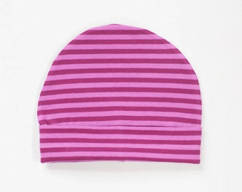 organic baby hat | double berry stripe