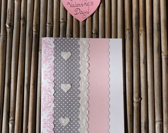 Love Card – Valentine Card – Handmade Card - Birthday Card – Anniversary Card – Romantic Card – Anytime Card – Pink and Gray Embossed