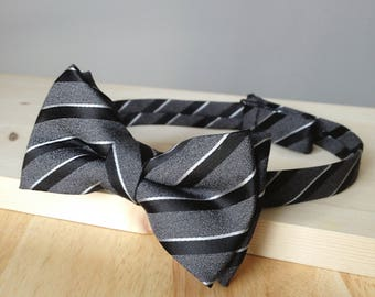Bowtie - gray silk with black & withe stripes - pre-tied - lindy hop gentleman - groom - unique