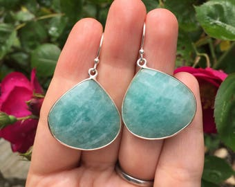 Amazonite Large Pear Bezel Set Drop Earrings on Sterling Silver Ear Wires
