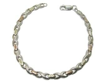 Ladies Vintage Sterling 12K Black Hills Gold Bracelet 7 Inches