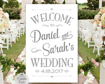 Printable Wedding Welcome Sign, Grey Lettering, Personalized with Names and Date (#WEL1A)
