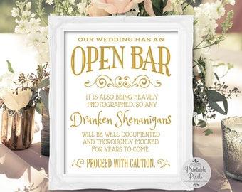 Open Bar Printable Wedding Sign, Gold Matte Lettering, Funny Bar Sign (#OP12G)