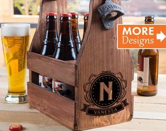 Beer Lover Gift, Beer Caddy Personalized, Six Pack Holder, Wooden Caddy, Beer Opener, Beer Holder, Custom Beer Caddy, Beer Bottles Holder