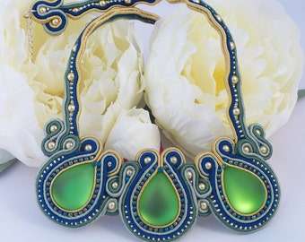 Soutache necklace. Beaded necklace  gold, blue and green by MollyG Designs Soutache jewellery. Beaded jewellery. Special occasion necklace.