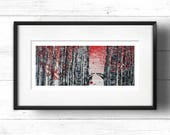 Badgers in Woods - Giclée Print, Badgers in Silver Birch Wood / Forest with Calligraphy Typograhpy Quotation, Alternative Valentines
