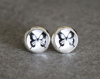 Butterfly Earrings, Butterfly Stud Earrings, White Stud Earrings, Black and White Earrings, Bug Earrings, Butterfly Gift, 8MM Studs
