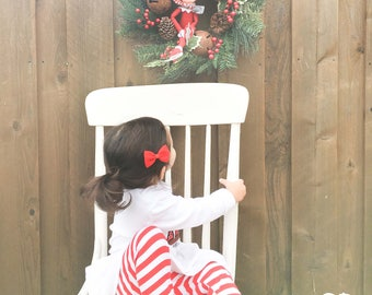 Girl Red and White Candy Stripe Knit Christmas Leggings