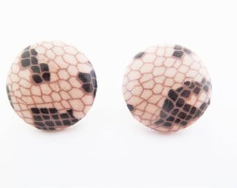 Vintage Faux Snake Skin Button Earrings for Pierced Ears