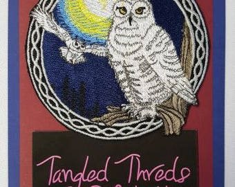 """Snowy Owls, Birds of Prey, Embroidered Patch 3.9"""" x 3.9"""""""