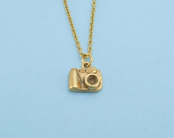 "Camera necklace in gold plated pewter on a 16"" gold plated cable chain.  Camera necklace.  Camera Charm. Photography jewelry."