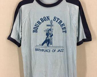 Vintage 80's Bourbon Street Jazz New Orleans Ringer 50/50 T-Shirt Fits like a Medium