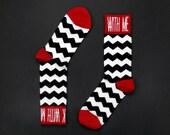 SUAVE CAMP / Twin Peaks / Fire Walk With Me / David Lynch / calcetines / unisex / blanco y negro / algodón