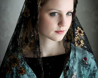 Evintage Veils~Black Embroidered Beaded Rose  Lace Mantilla Chapel Veil  Mantilla Shawl Wrap
