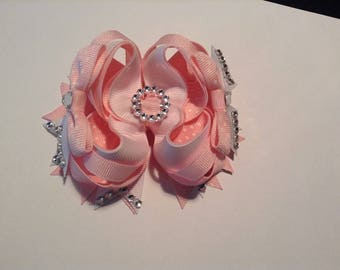Pink and white bling boutique hair bow