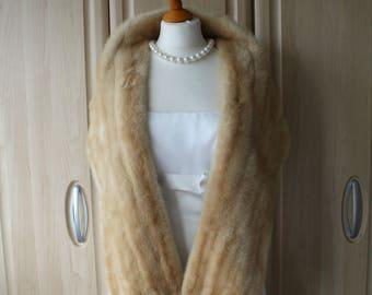 Vintage Real Light Cream Mink Fur Shrug Stole by Diadem, Mutation Emba Mink, Wedding / Opera / Occasion S24