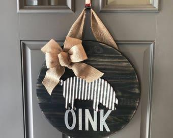 Pig Door Hanger, Corrugated Metal, Wood Door Hanger, Front Door Sign, Farmhouse Decor, Rustic Door Sign, Front Door Decor
