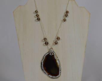 Dark Brown Druzy Pendant Necklace