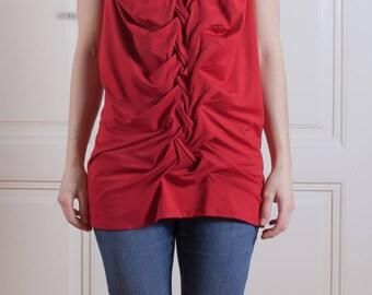hand smocking tunic/ red tunic/ black tunic/ modern tunic