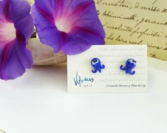 Octopus blue earrings made with Murano glass and sterling silver