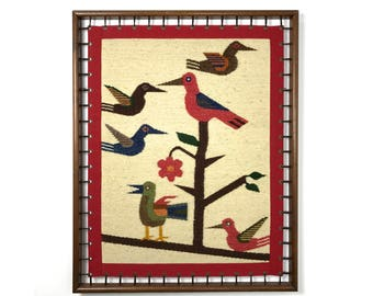 Vintage Modernist Woven Bird Framed Fiber Wall Art 1970's
