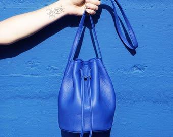 Blue Leather Bucket Bag - Royal Blue Purse