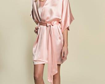Silk Getting Ready Bride Bridal Kimono Robe Bridesmaids Wedding Gift Ballet Pink One Size