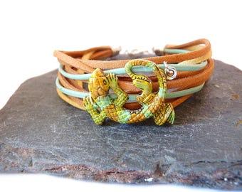 Mens bracelet - lizard, gecko, brown, green, blue, suede, leather mens bracelet, cuff bracelet, brown mens bracelet, lizard bracelet,