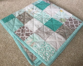 READY TO SHIP Baby Quilt Nursery Bedding Mint Green Aqua Teal Gray White Flowers Love Note Bunny Baby Girl Littlest One